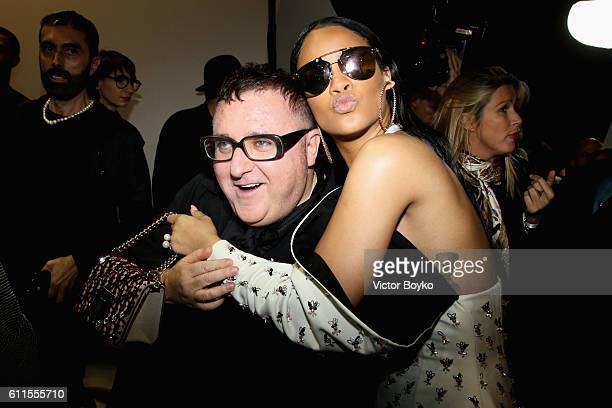 Albert Elbaz and Rihanna attend the Christian Dior show as part of the Paris Fashion Week Womenswear Spring/Summer 2017 on September 30 2016 in Paris...
