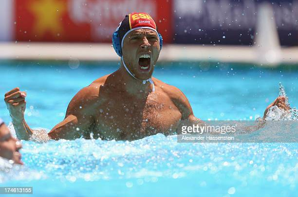 Albert Espanol of Spain celebrates during the Men's Water Polo quarterfinals qualification match between United Sates of America and Spain during day...