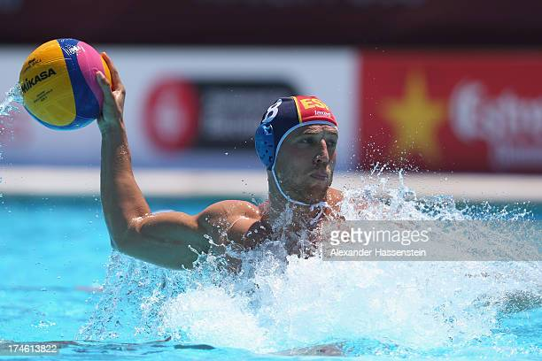 Albert Espanol of Spain during the Men's Water Polo quarterfinals qualification match between United Sates of America and Spain during day nine of...