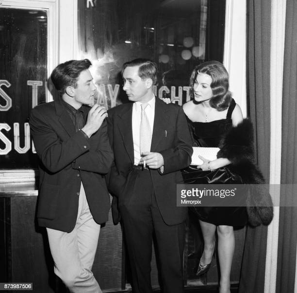 Albert Finney Alan Sillitoe and Shirley Anne Field at the premiere of their new film 'Saturday Night and Sunday Morning' 26th October 1960