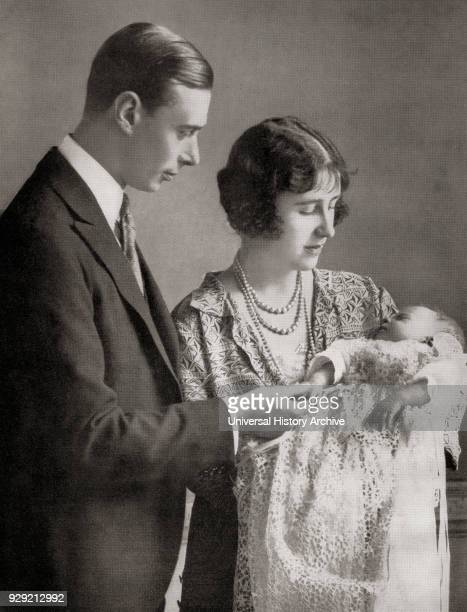 Albert Frederick Arthur George future George VI and his wife Elizabeth BowesLyon future Queen Elizabeth at the christening of their first daughter...