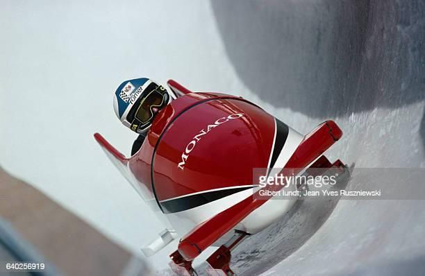 Albert Grimaldi, Prince of Monaco competes with the Monaco bobsledding team at the 1988 Winter Olympics.