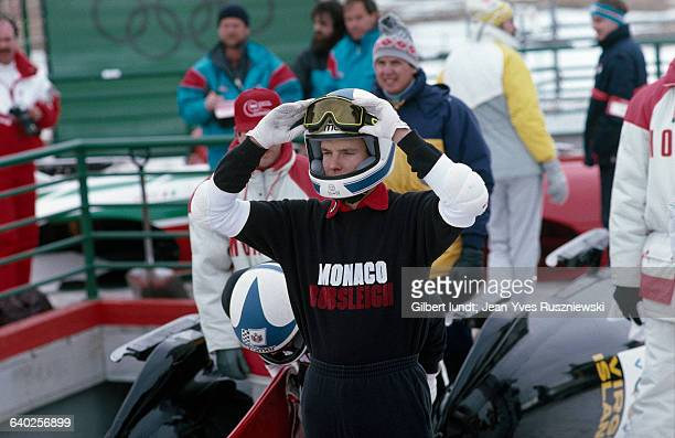 Albert Grimaldi, Prince of Monaco prepares to compete with the Monaco team at the 1988 Winter Olympics.