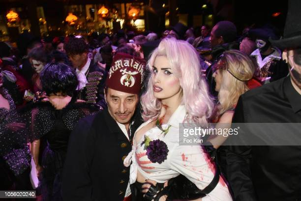 Albert Grintuch and guest attend the Bal Des Vampires Hosted by Le Bal des Princesses At The Pachmama Club on October 31 2018 in Paris France