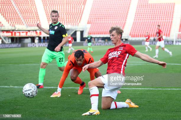 Albert Gudmundsson of Alkmaar Zaanstreek scores his team's third goal during the UEFA Champions League qualification match between AZ Alkmaar and FC...