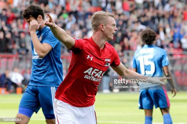 Albert Gudmundsson of AZ Alkmaar celebrates 10 during the Dutch Eredivisie match between AZ Alkmaar v Feyenoord at the AFAS Stadium on September 16...