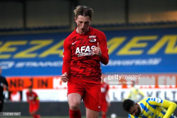 Albert Gudmundsson of AZ Alkmaar celebrates 1-1 during the Dutch Eredivisie match between RKC Waalwijk v AZ Alkmaar at the Mandemakers Stadium on May...