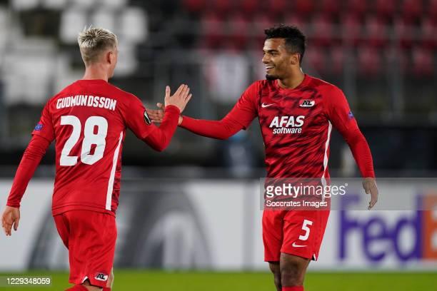 Albert Gudmundsson of AZ Alkmaar celebrates 2-0 with Owen Wijndal of AZ Alkmaar during the UEFA Europa League match between AZ Alkmaar v Rijeka at...