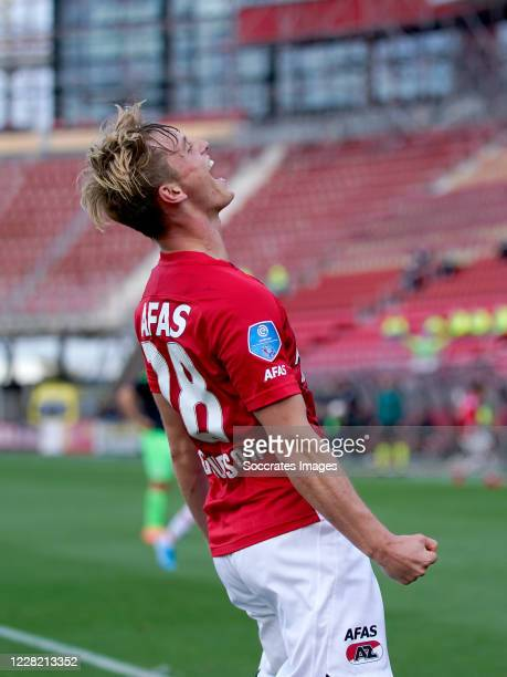 Albert Gudmundsson of AZ Alkmaar celebrates 3-1 during the UEFA Champions League match between AZ Alkmaar v Viktoria Plzen at the AFAS Stadium on...
