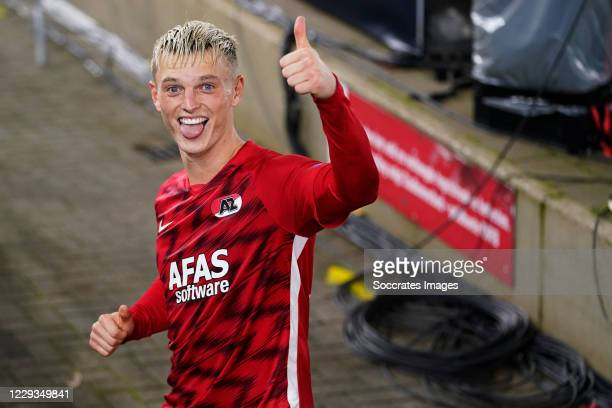 Albert Gudmundsson of AZ Alkmaar celebrates the victory during the UEFA Europa League match between AZ Alkmaar v Rijeka at the AFAS Stadium on...