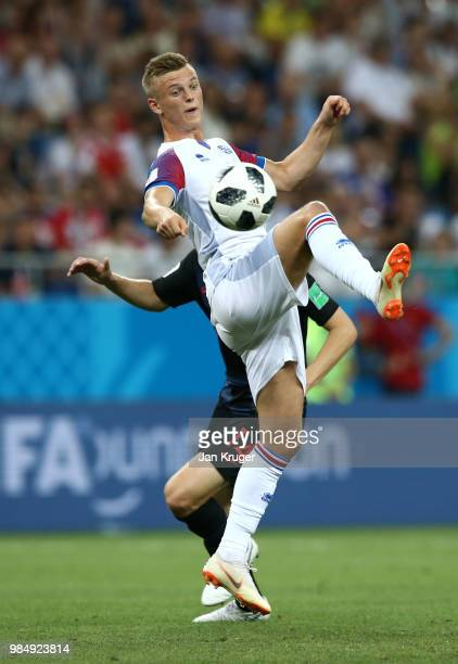 Albert Gudmundsson of Iceland controls the ball during the 2018 FIFA World Cup Russia group D match between Iceland and Croatia at Rostov Arena on...