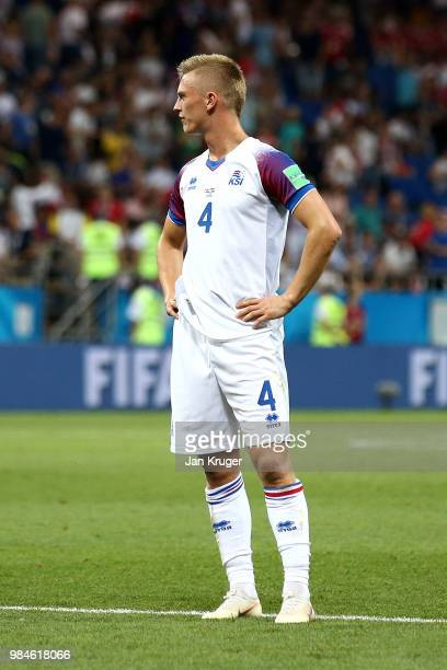 Albert Gudmundsson of Iceland looks dejected following his sides defeat in the 2018 FIFA World Cup Russia group D match between Iceland and Croatia...