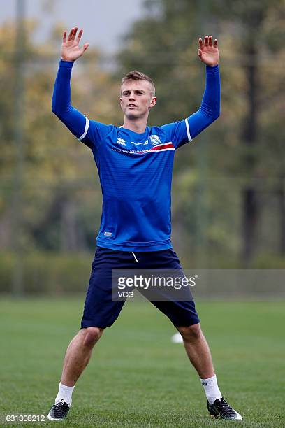 Albert Gudmundsson of Iceland national football team attends a training session ahead of the 2017 Gree China Cup International Football Championship...