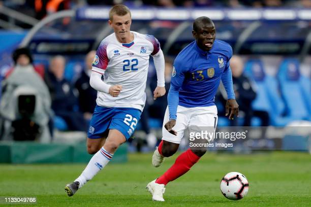 Albert Gudmundsson of Iceland N'Golo Kante of France during the EURO Qualifier match between France v Iceland at the Stade de France on March 25 2019...