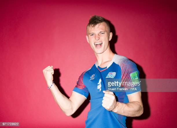 Albert Gudmundsson of Iceland poses for a picture during the official FIFA World Cup 2018 portrait session at on June 11 2018 in Gelendzhik Russia