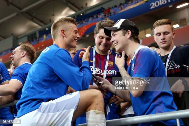 Albert Gudmundsson of Iceland speaks with fans after the 2018 FIFA World Cup Russia group D match between Iceland and Croatia at Rostov Arena on June...