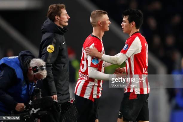 Albert Gudmundsson of PSV Hirving Lozano of PSV during the Dutch Eredivisie match between PSV v Vitesse at the Philips Stadium on December 23 2017 in...