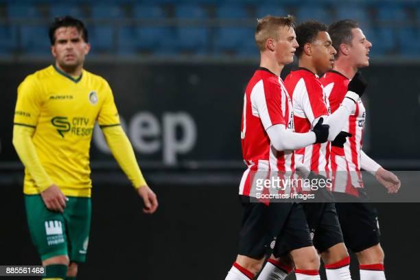 Albert Gudmundsson of PSV U23 Donyell Malen of PSV U23 Dirk Abels of PSV U23 during the Dutch Jupiler League match between PSV U23 v Fortuna Sittard...