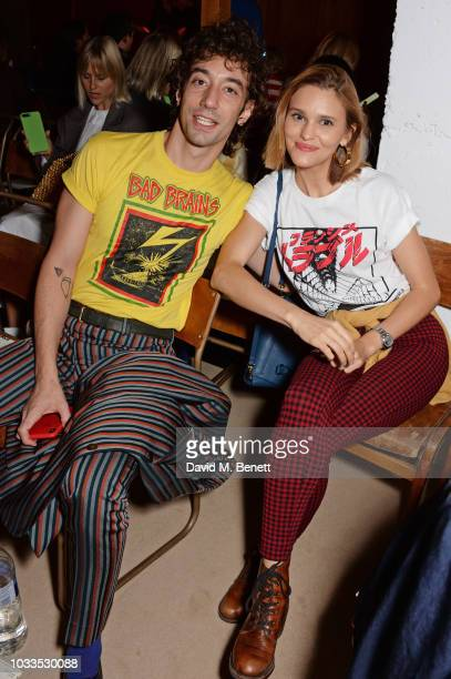 Albert Hammond Jr and wife Justyna Hammond Jr attend the ALEXACHUNG LFW Show during London Fashion Week September 2018 on September 15 2018 in London...