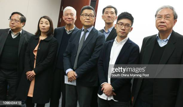 Albert Ho Chunyan Lau Siulai Rev Chu Yiuming Chan Kinman Edward Yiu Chungyim Nathan Law Kwunchung and Joseph Cheng YuShek attend a press conference...