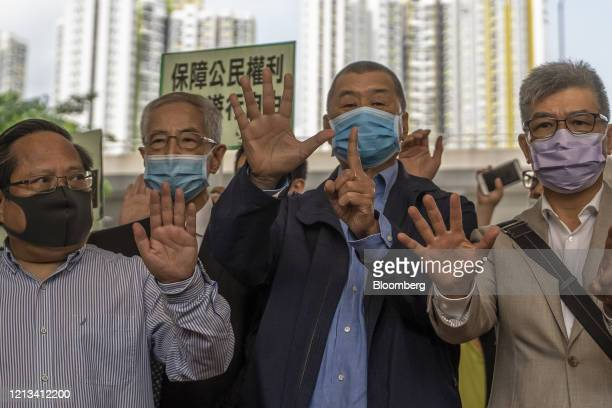 Albert Ho, former pro-democracy lawmaker, from left, Martin Lee, founder of the Hong Kong Democratic Party, Jimmy Lai, chairman of Next Media Ltd....