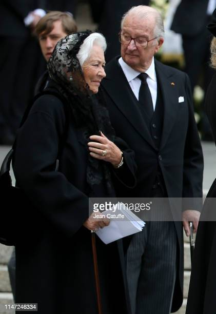 Albert II of Belgium and Queen Paola of Belgium during the funerals of Grand Duke Jean of Luxembourg at Cathedrale NotreDame on May 4 2019 in...