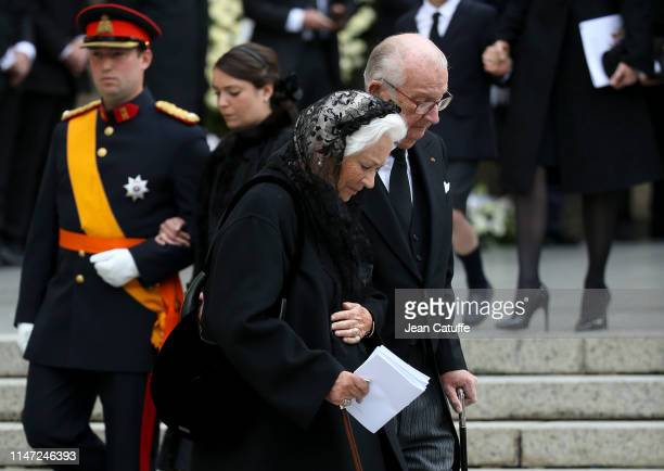 Albert II of Belgium and Queen Paola of Belgium Prince Sebastien of Luxembourg and Princess Alexandra of Luxembourg during the funerals of Grand Duke...