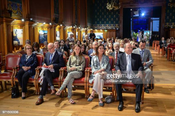 HSH Albert II of Monaco Princess Caroline of Hanover and Princess Alexandra of Hanover attend the Les Rencontres Philosophiques at Musee...