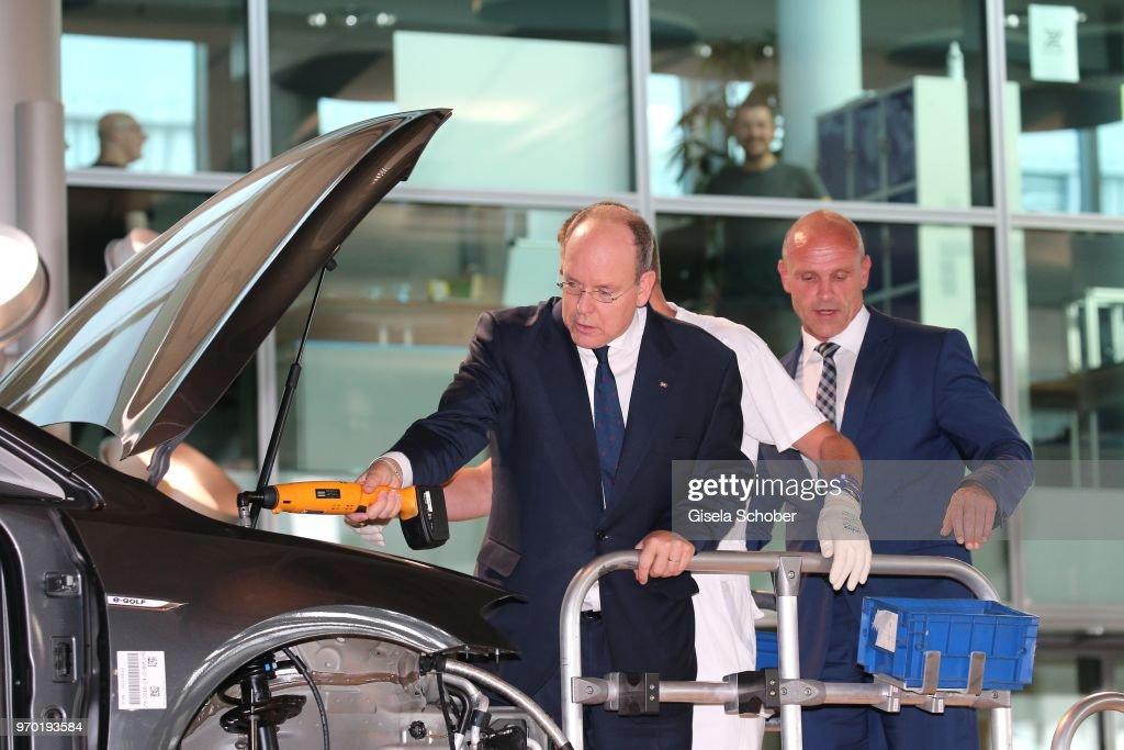 "Prince Albert II of Monaco Visits The ""Glaeserne Manufaktur"" of Volkswagen"