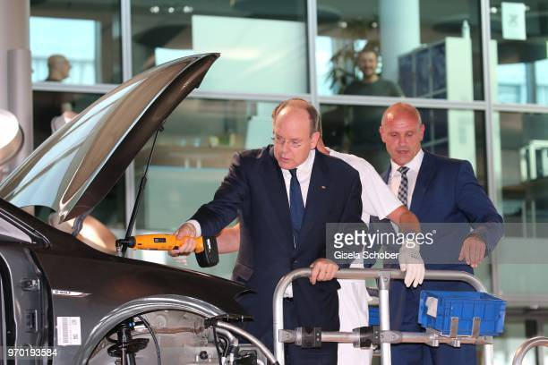 Albert II of Monaco besides Thomas Ulbrich during his visit of the 'Glaeserne Manufaktur' of Volkswagen before the European Culture Awards TAURUS...