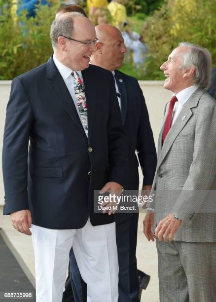 Albert II, Prince de Monaco, and Sir Jackie Stewart attend the Amber Lounge Fashion Monaco 2017 at Le Meridien Beach Plaza Hotel on May 26, 2017 in...