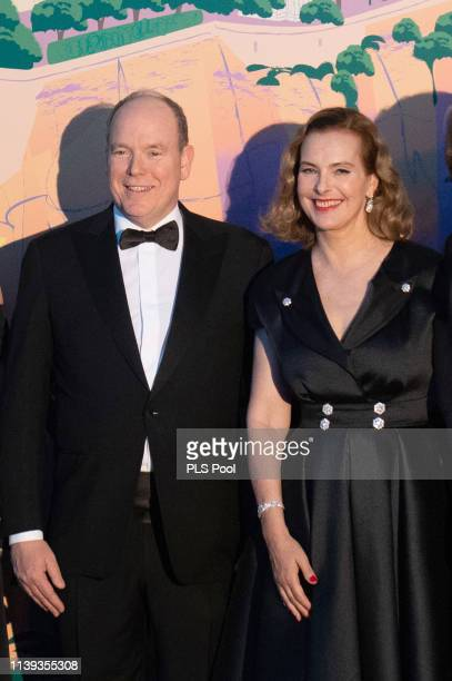 Albert II Prince of Monaco and Carole Bouquet attend the Rose Ball 2019 to benefit the Princess Grace Foundation on March 30 2019 in Monaco Monaco