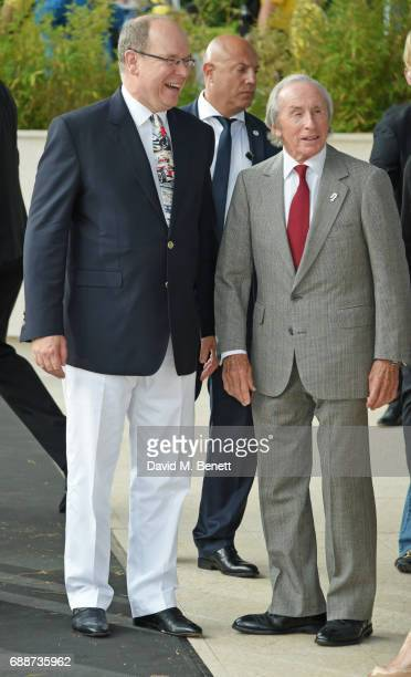 Albert II, Prince of Monaco, and Sir Jackie Stewart attend the Amber Lounge Fashion Monaco 2017 at Le Meridien Beach Plaza Hotel on May 26, 2017 in...