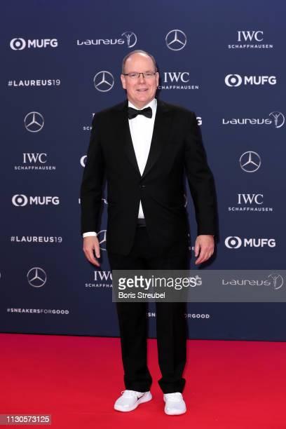 Albert II Prince of Monaco arrives for the 2019 Laureus World Sports Awards on February 18 2019 in Monaco Monaco