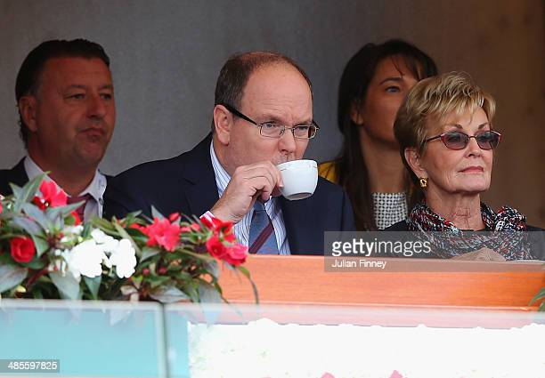 Albert II Prince of Monaco attends play as he has a drink during day seven of the ATP Monte Carlo Rolex Masters Tennis at MonteCarlo Sporting Club on...