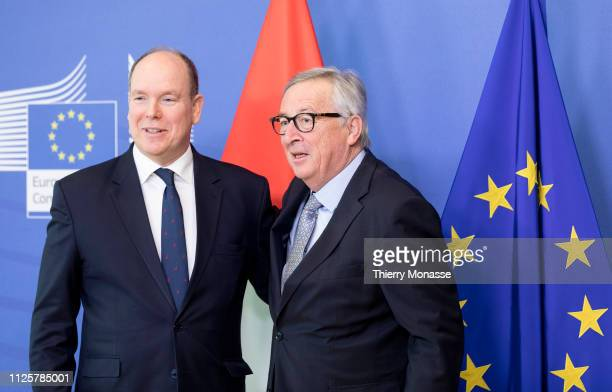 Albert II Prince of Monaco is welcome by the President of the EU Commission JeanClaude Juncker prior to a bilateral meeting in the Berlaymont the EU...