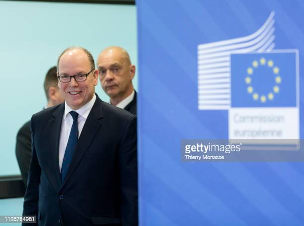 Albert II Prince of Monaco is welcome by the President of the EU Commission prior to a bilateral meeting in the Berlaymont the EU Commission...