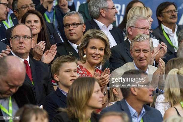 Albert II Prince of Monaco Queen Mathilde and King Philipe of Belgium attend the AG Insurance Memorial Van Damme IAAF Diamond League meeting at the...