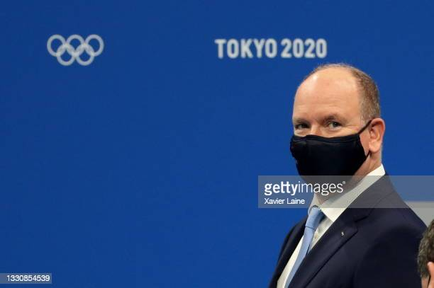 Albert II Prince of Monaco reacts on day four of the Tokyo 2020 Olympic Games at Tokyo Aquatics Centre on July 27, 2021 in Tokyo, Japan.
