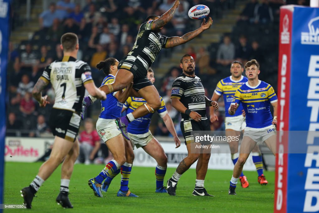 Albert Kelly of Hull FC jumps to collect the ball during the BetFred Super League match between Hull FC and Leeds Rhinos at the KCOM Stadium on April 19, 2018 in Hull, England.