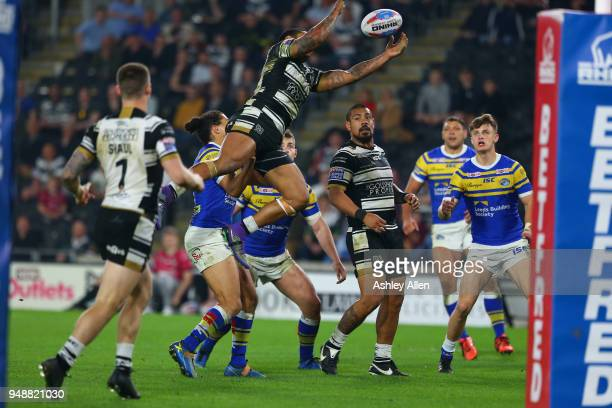 Albert Kelly of Hull FC jumps to collect the ball during the BetFred Super League match between Hull FC and Leeds Rhinos at the KCOM Stadium on April...