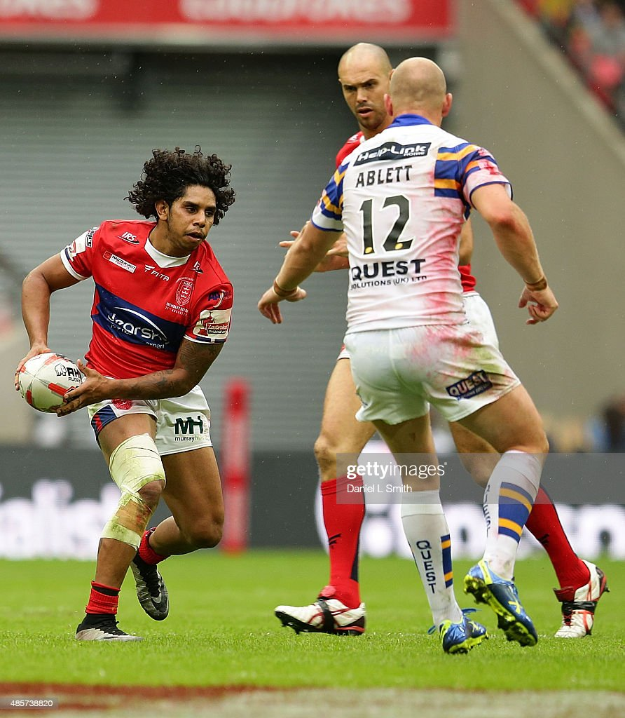 Albert Kelly of Hull KR holds possession over Leeds Rhinos during the Ladbrokes Challenge Cup Final between Leeds Rhinos and Hull KR at Wembley Stadium on August 29, 2015 in London, England.