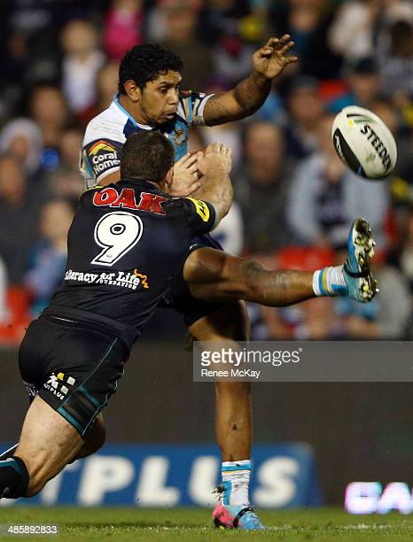 Albert Kelly of the Titans kicks ahead during the round seven NRL match between the Penrith Panthers and the Gold Coast Titans at Sportingbet Stadium...