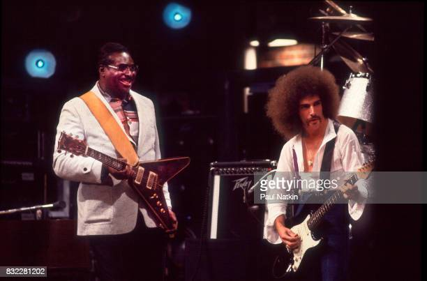 Albert King and Neal Schon of Journey at the WTTW Studios for a taping of Soundstage in Chicago Illinois July 1978