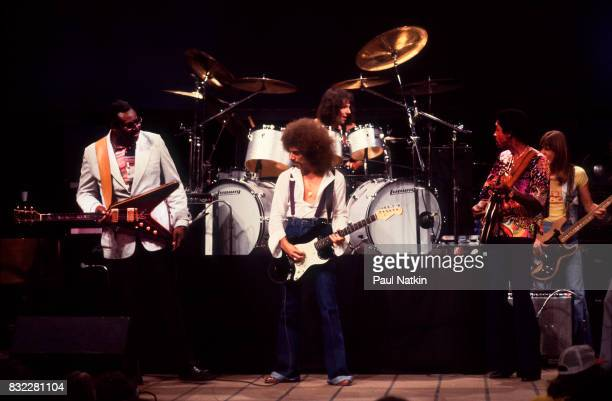 Albert King Neal Schon Luther Allison and Ross Valory at the WTTW Studios for a taping of Soundstage in Chicago Illinois July 1978