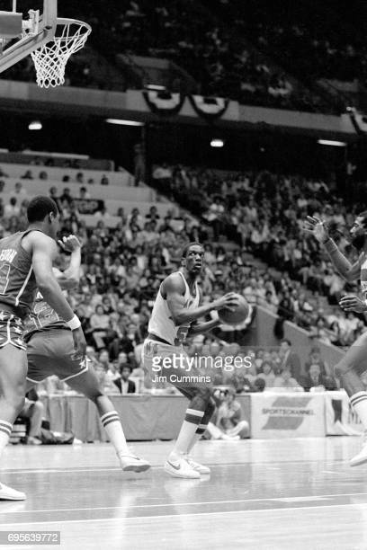Albert King of the New Jersey looks to shoot against the Washington Bullets circa 1980 at the Brendan Byrne Arena in East Rutherford New Jersey NOTE...