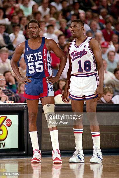 Albert King of the New Jersey Nets and Derek Smith of the Sacramento Kings stand on January 27 1987 at Arco Arena in Sacramento California NOTE TO...