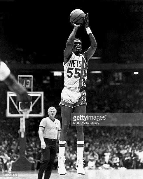 Albert King of the New Jersey Nets attempts a jump shot during a 1981 NBA game at Brendan Byrne Arena in East Rutherford New Jersey NOTE TO USER User...