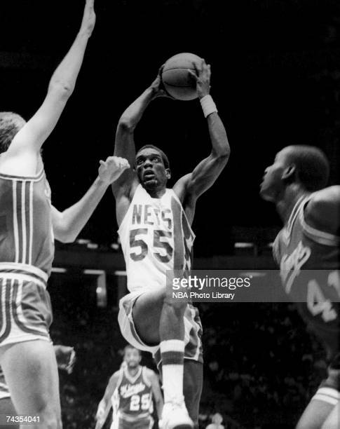 Albert King of the New Jersey Nets drives to the basket against the Sacramento Kings during a 1985 NBA game at Brendan Byrne Arena in East Rutherford...