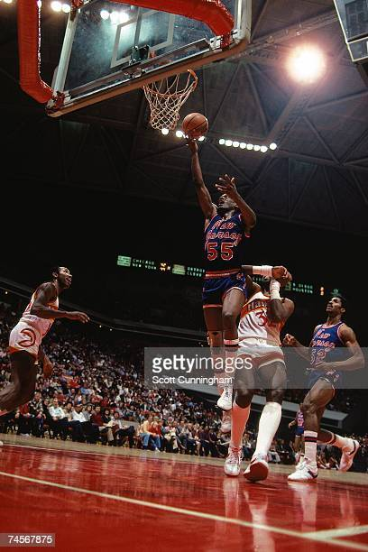Albert King of the New Jersey Nets elevates for a dunk against the Atlanta Hawks during a 1983 NBA game at the Omni Coliseum in Atlanta Georgia NOTE...